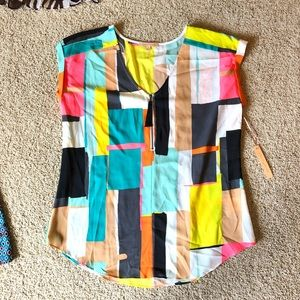 NWT Colorful Block Top